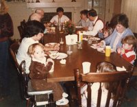 Famliy gathering with Lori and Van with kids, David and Andrea. Lorraine and Matt with Michael and Leann. Nana, Bubba, Mimi and Nick at end of table.