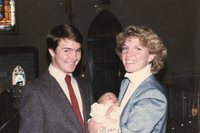 Megan with her godparents at Baptism 12/1/1985